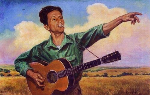 Woody Guthrie painting by Artist Charles Banks Wilson