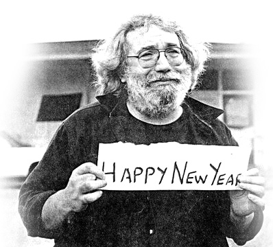 Jerry Garcia holding Happy New Year sign