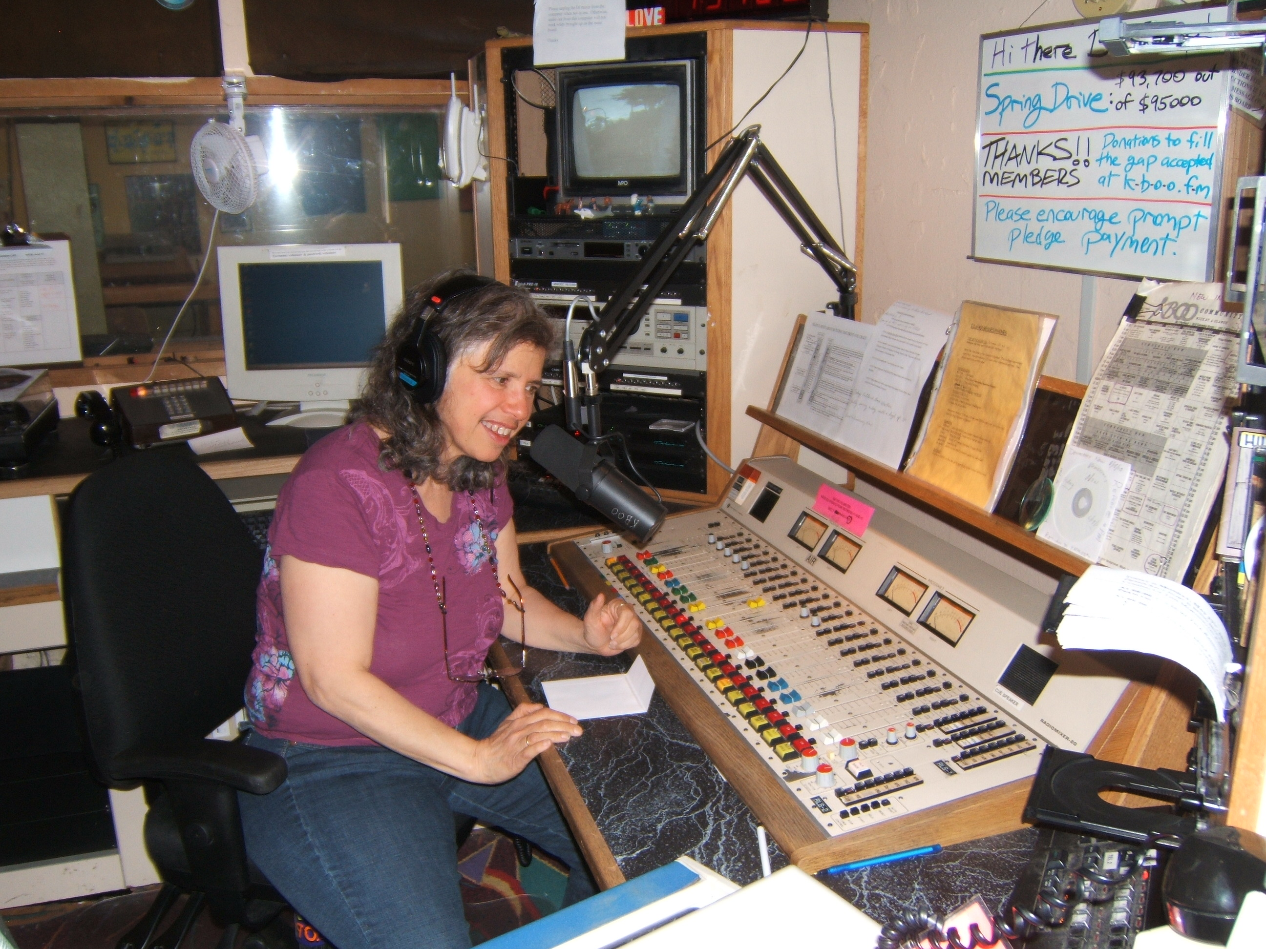 photo, Laurie Sonnenfeld on the air