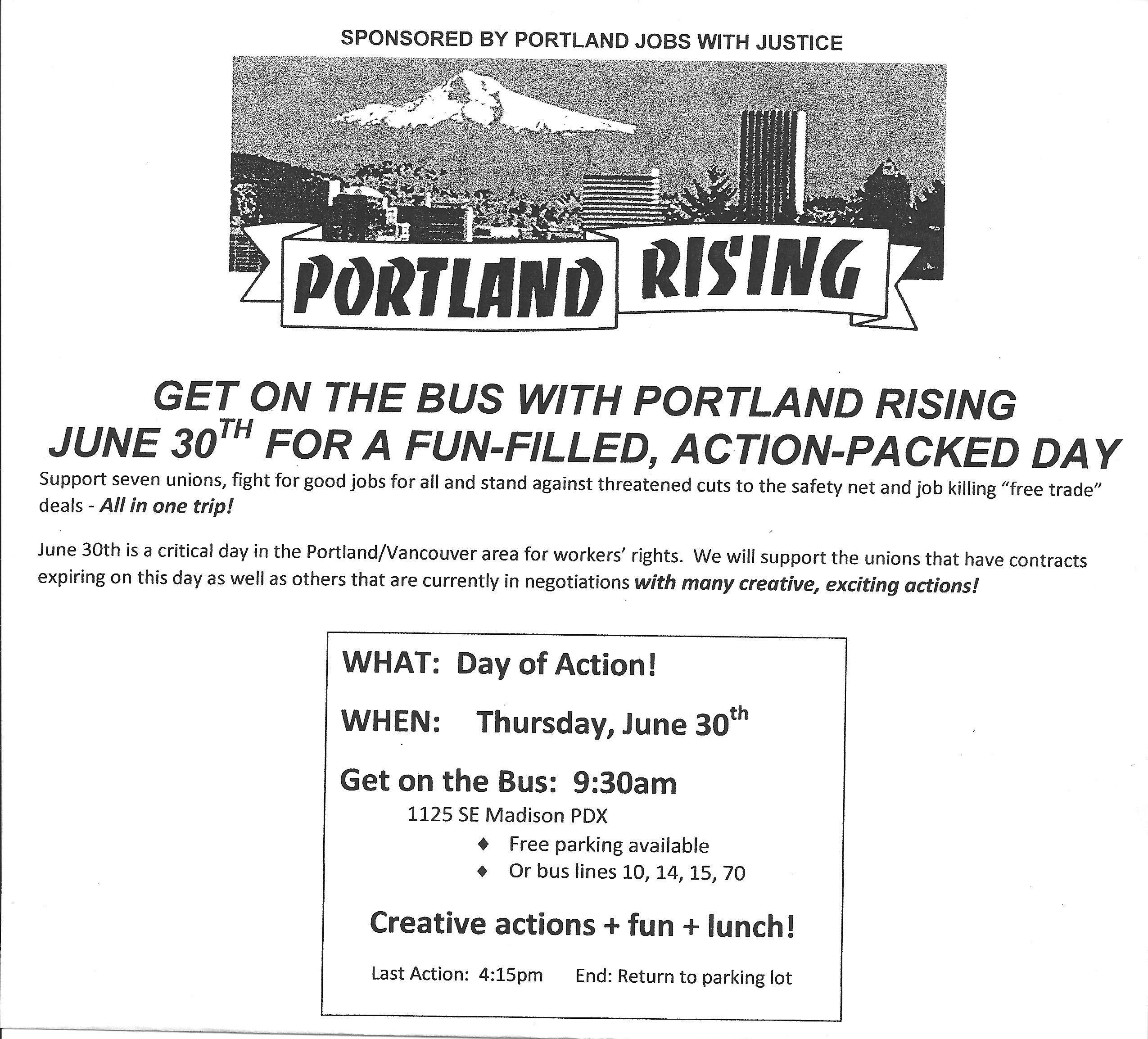 Portland Rising Day of Action for Good Jobs