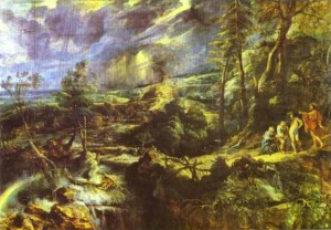 In Rubens's landscape of Baucis and Philemon, the painter shows an apocalypse in