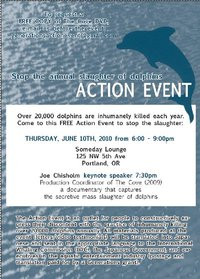 Stop the Sluaghtering of Dolphins Action Event at Someday Lounge