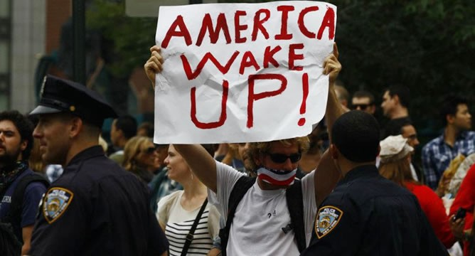 'America wake up' sign