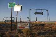 Fracking Signs and Drill Rigs