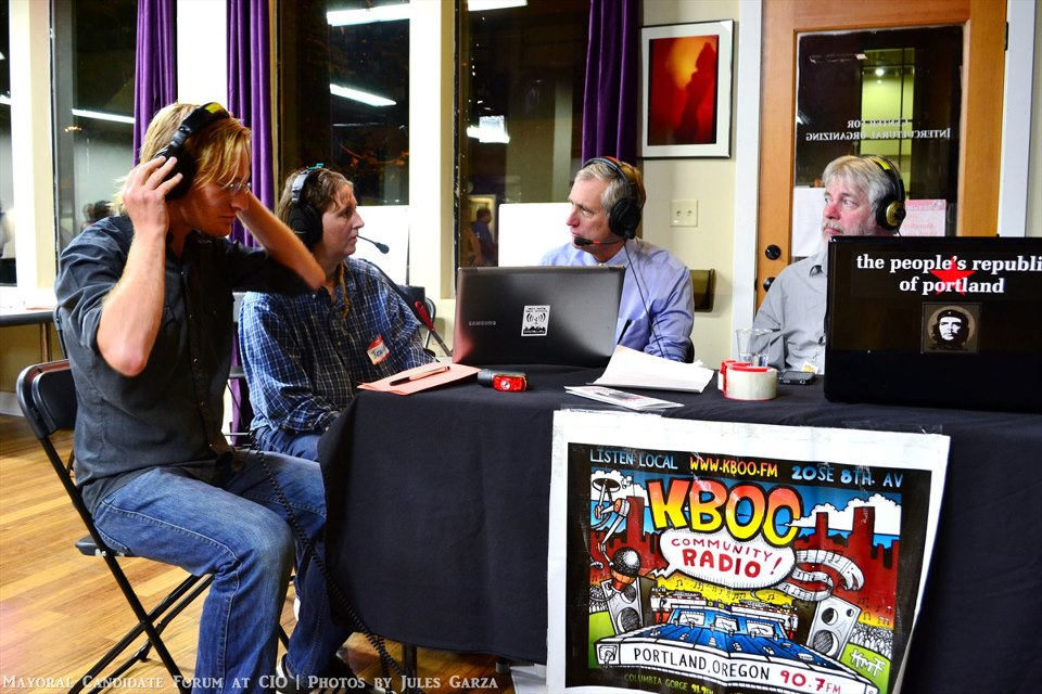 Charlie Hales at KBOO table