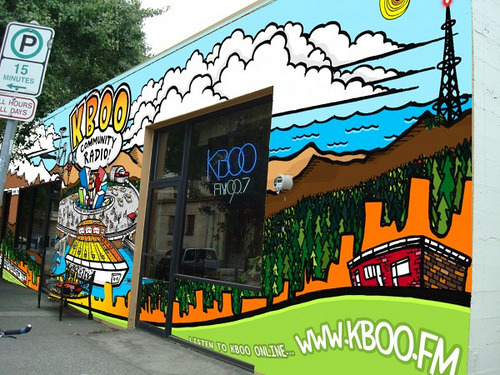 KBOO Mural In Progress - Artwork by KMF ILLUSTRATION.com