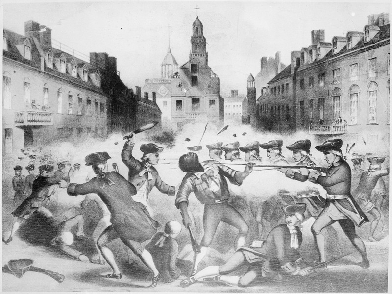 engraving of 1770 Boston Massacre, Crispus Attucks falls