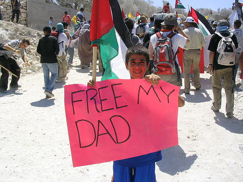 Palestinian child at protest