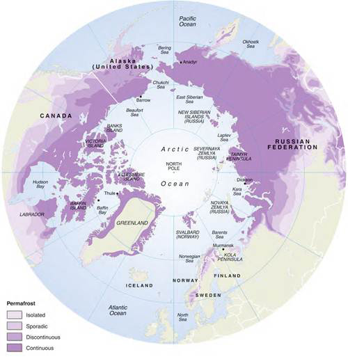Permafrost distribution map.