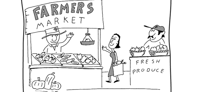 Farmers' Market cartoon