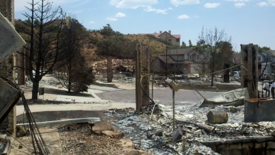 Neighborhood in Colorado Springs destroyed by Waldo Canyon Fire 2012