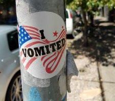 I vomited (voted) sticker
