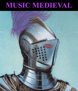 Knight in armor with purple feather and lipstick marks on helmet