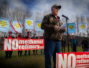 John Flynn speaking at No Methanol Rally Kalama