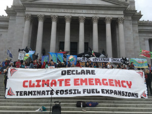 Declare Climate Emergency, steps of Washington State Capitol 9-24-2019