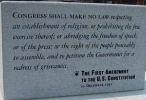 text of first amendment carved in stone