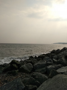 A view to the south along an Irish Sea beach