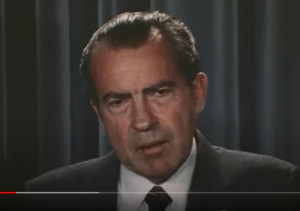 Disgraced former president Richard Nixon