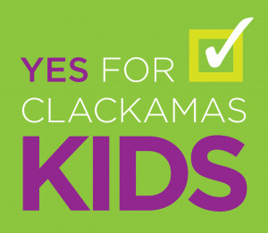 "Logo for ballot measure campaign that reads ""Yes for Clackamas Kids"""
