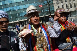 Indigenous people from Bolivia demonstrating at the United Nations for their right to grow and use coca.
