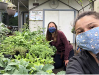 Two growers in masks in a plant nursery.